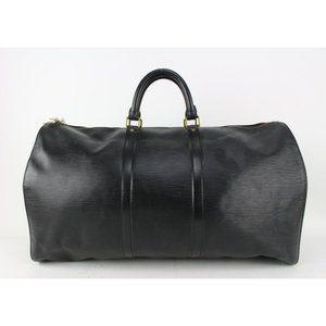 Louis Vuitton Black Epi Leather Noir Keepall 55
